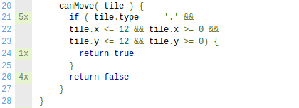 La couverture de code indique le nombre de fois que chaque ligne est exécutée dans la suite de tests.